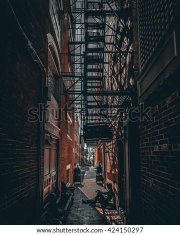 Dark alley in Boston, Massachusetts. #424150297