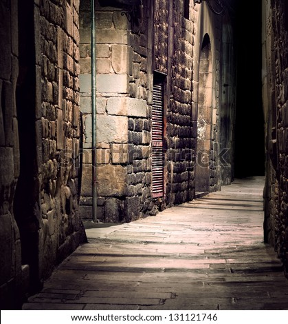 Dark Alley In Old Part Of Town