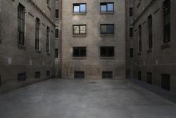 dark alley with industrial type brick building