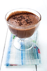 Dark and delicate chocolate mousse
