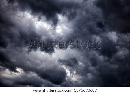 Dark and Dramatic Storm Clouds Area Background #1376690609
