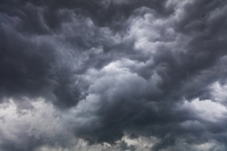 Dark and dramatic storm clouds before thunderstorm