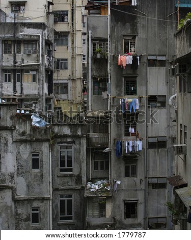 Dark And Gloomy Image Of Residential Urban Decay In Hong Kong ...