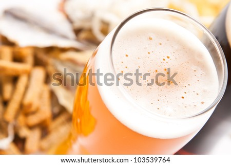dark and light beer with any snack