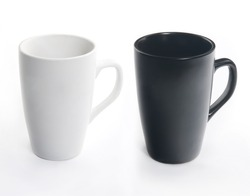 Dark and light ceramic cup with handle isolated on white background. You can get with them every colors.