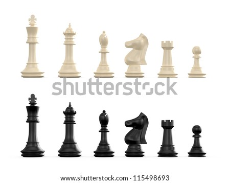 Dark and light chess set, isolated on white background.