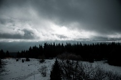 Dark and moody mountain landscape in winter with fog in the trees. Moody nature vibes with mist and dark cold weather. Harz Mountains, Harz National Park in Germany.