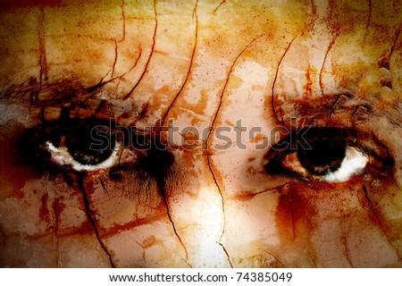 Dark art of the eyes of a girl - stock photo