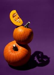 Dark artistic photo of orange pumpkins on purple background. Shadow as Jack head. Balancing vegetables. Halloween concept. Hard light food photography