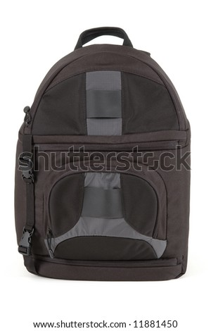 dark back pack isolated on white background