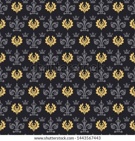 Dark background pattern. Retro pattern. Background image. Seamless wallpaper in vintage style