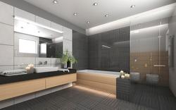 Dark Bathroom With Grey Ornament With Candels