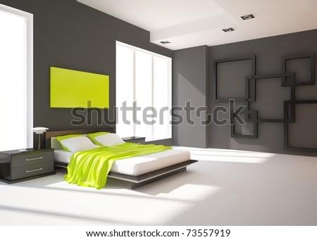 dark bedroom - stock photo