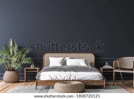 Dark bedroom interior mockup, wooden rattan bed on empty dark wall background, Scandinavian style, 3d render , 3d illustration