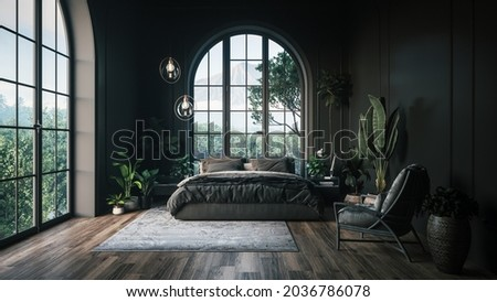 Dark bedroom with a large window. Stylish bedroom with a garden view. Stylish bedroom interior. 3d illustration