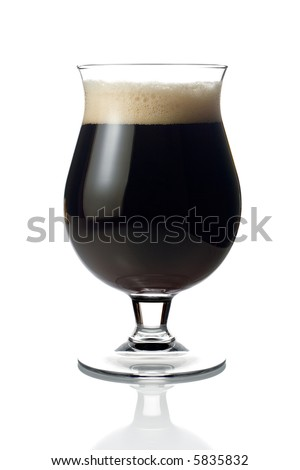 Dark beer against white background
