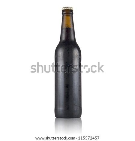 Dark beer bottle with water drop isolated on white
