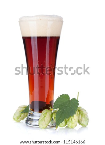 Dark beer cup and hop branch. Isolated on white background