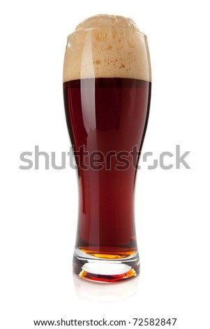 Dark beer glass. Isolated on white background