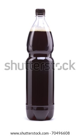 Dark beer in a sealed bottle on a white background