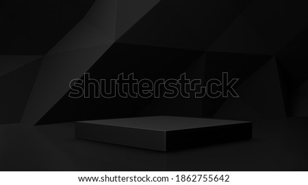 Dark black 3d background with one geometric shapes, podium on the floor. Platforms for product presentation, Abstract composition design, showcase minimal is black , copy space, bander Zdjęcia stock ©