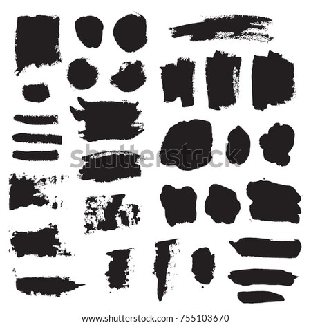 Dark black grunge watercolor, ink texture set, hand painted dry brush splashes, strokes, stains, spots, blots, stripes, lines, dirty frame. Abstract collection of acrylic backgrounds isolated on white #755103670