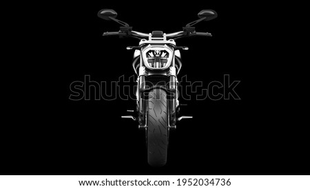 Dark black metallic chopper motorcycle 3d render Stock photo ©