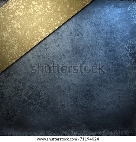 dark blue background with grungy burnished gold stripe angled in the corner, soft faded lighting, elegant layout design, and copy space