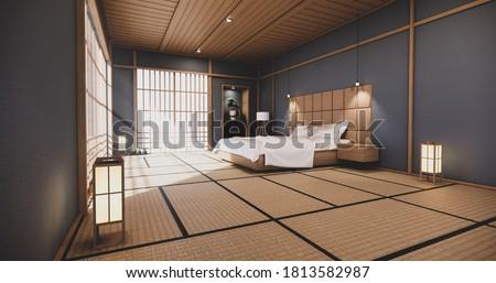 Dark blue bedroom japanese design on tropical room interior and tatami mat floor. 3D rendering Stok fotoğraf ©