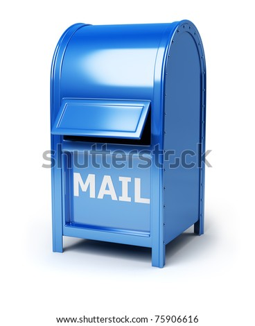 Dark blue brilliant mail box. 3d image. Isolated white background.