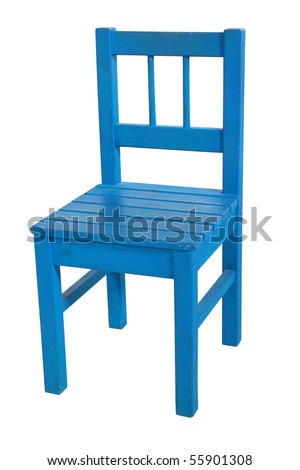 Dark blue children's chair, isolated on a white background