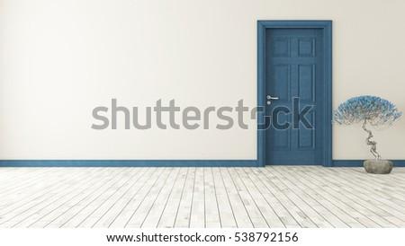 dark blue door with wall and parquet 3D rendering by Sedat SEVEN