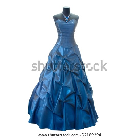 Dark blue dress on a dummy on a white background