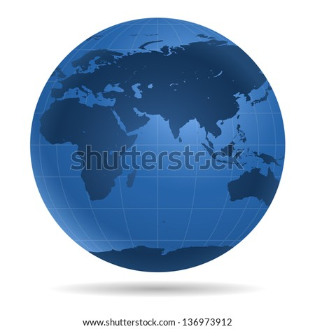 Dark blue Earth globe.  View on Europe, Asia, Africa, Antarctica - icon isolated on white background.