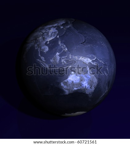 Dark Blue Globe Australia view