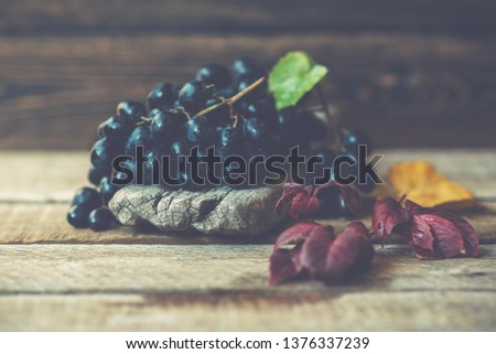 Dark blue grape with fall leaves on old wooden background. Healthy fruits. Red wine grapes background. Bunch of grapes ready to eat. Toned image. Selective focus.