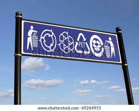 Dark blue information sign with various recycling symbols over blue sky