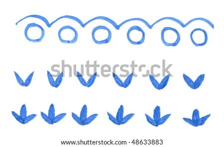 Dark blue ink symbol and design element set