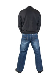 dark blue jeans, black leather shoes,black sweater isolated on white background. Casual style