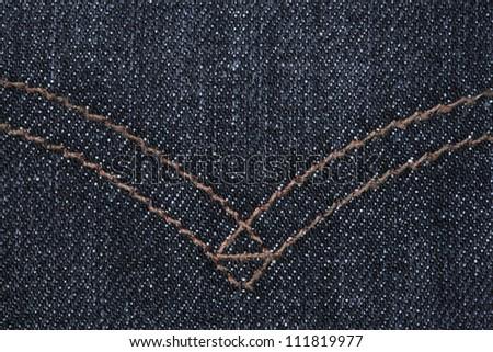 dark blue jeans texture close up. - stock photo