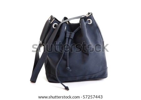 Dark Blue Leather Woman Handbag