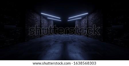 Dark Blue Led Brick Glowing Concrete Tunnel Corridor Garage Underground Dark Night Empty Industrial Car Showroom Parking modern 3D Rendering illustration