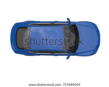 Dark blue modern generic business car - top view - 3D Illustration
