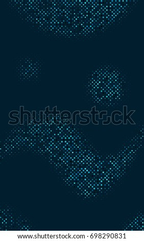 Dark BLUE modern geometrical circle abstract background. Dotted texture template. Geometric pattern in halftone style with gradient.