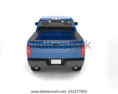 Dark blue modern pick up truck - back view - 3D Illustration