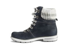 Dark blue nubuck leather hiking boot isolated over white
