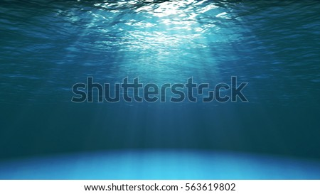 Dark blue ocean surface seen from underwater. Abstract Fractal waves underwater and rays of sunlight shining through