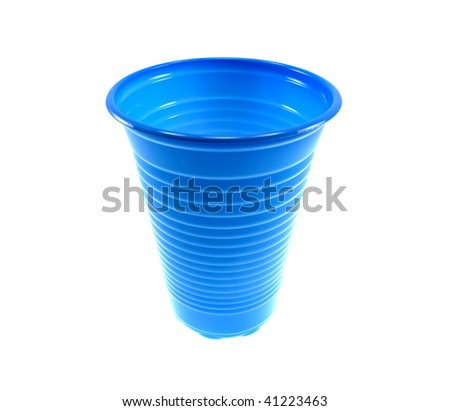 Dark blue plastic glass isolated on a white background