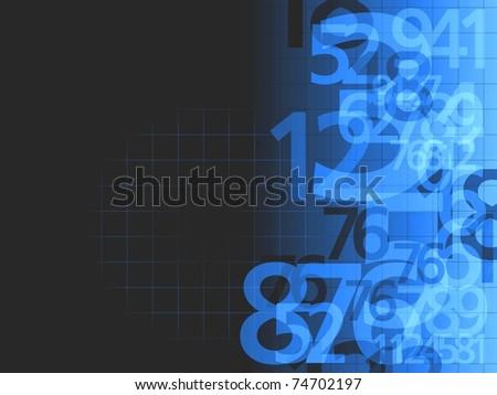 dark blue random numbers background illustration