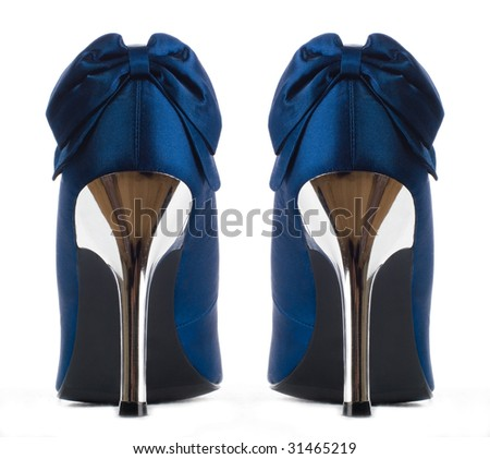 dark blue shoes.  back view